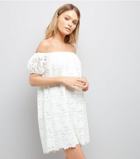Cream Lace Bardot Mini Dress | New Look