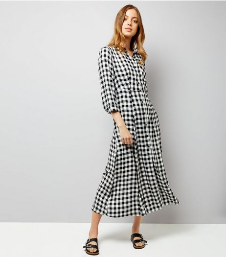 Black Gingham Shirt Dress | New Look