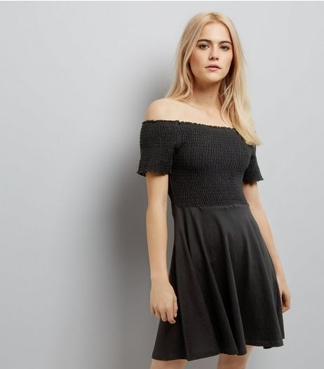 Black Shirred Bardot Neck Skater Dress | New Look