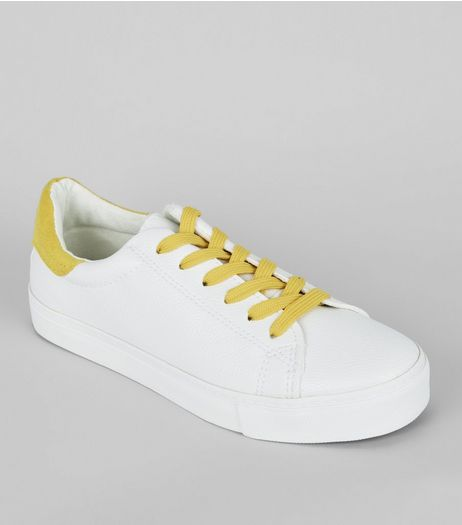 Yellow Contrast Lace Up Trainers | New Look