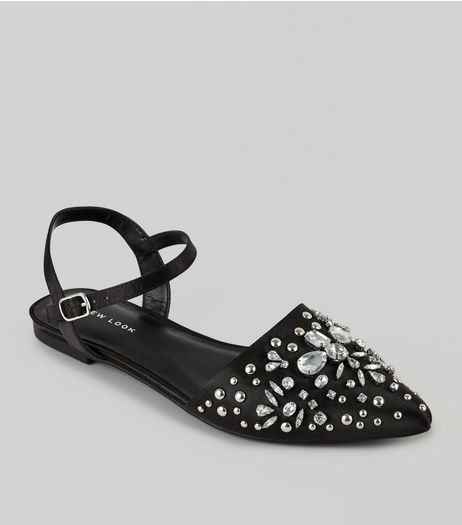 Black Satin Embellished Pointed Pumps | New Look