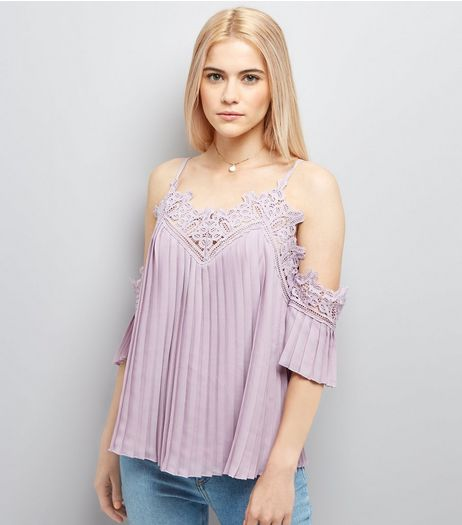 Lilac Crochet Lace Trim Pleated Cold Shoulder Top | New Look