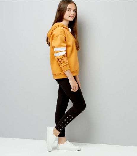 Teens Black Tie Side Leggings  | New Look