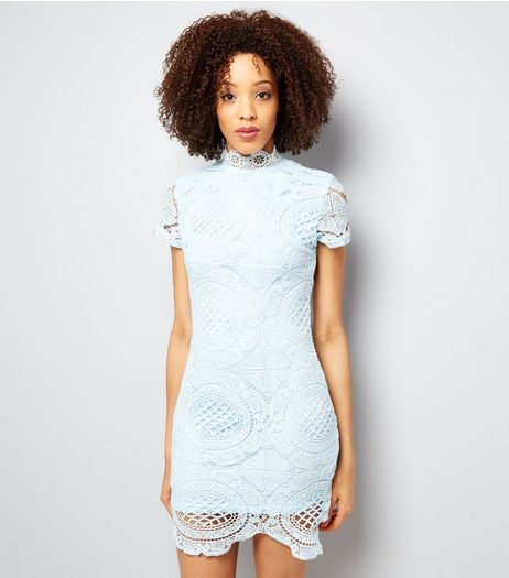 AX Paris Pale Blue Lace Bodycon Dress | New Look