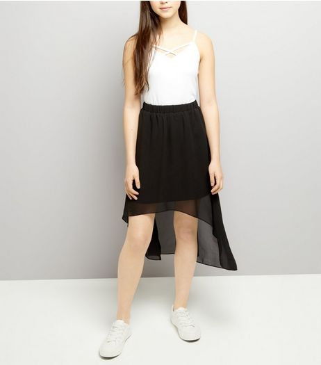 Teens Black Dip Hem Skirt | New Look