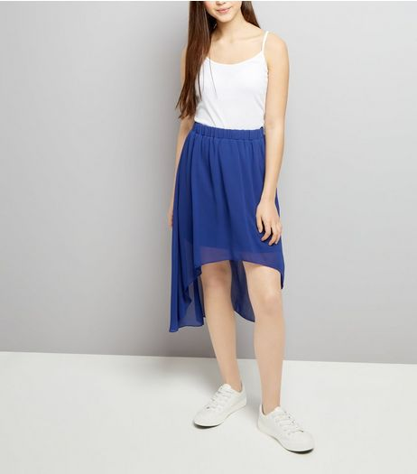 Teens Blue Dip Hem Skirt | New Look