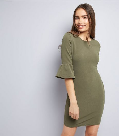AX Paris Olive Green Frill Sleeve Dress | New Look