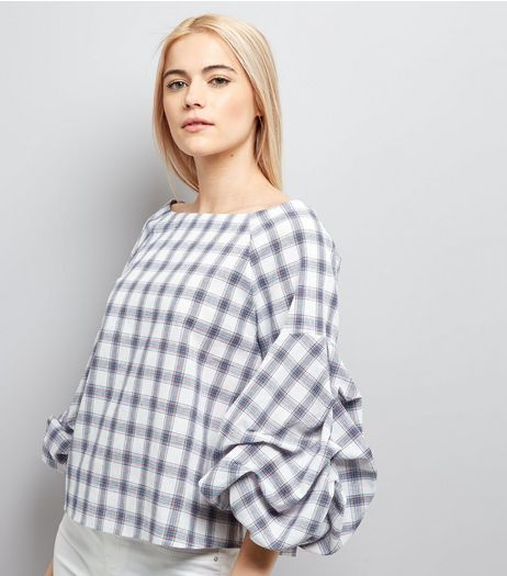 White Check Gathered Sleeve Top | New Look