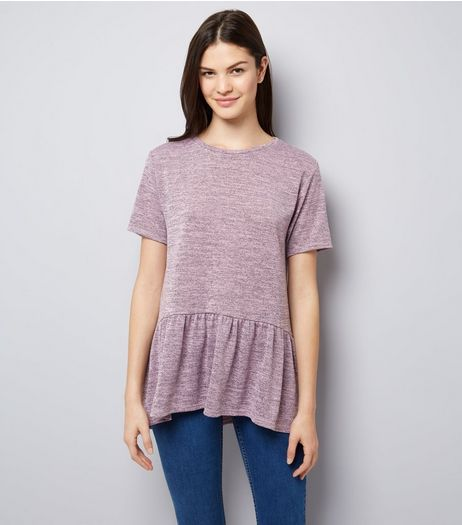 Pink Peplum Hem T-Shirt | New Look