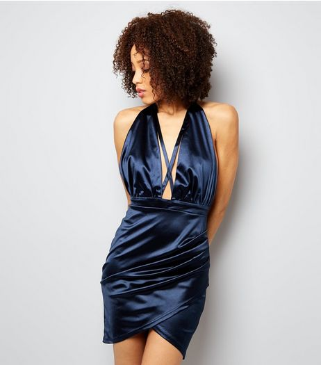 AX Paris Navy Satin Halter Neck Wrap Dress | New Look