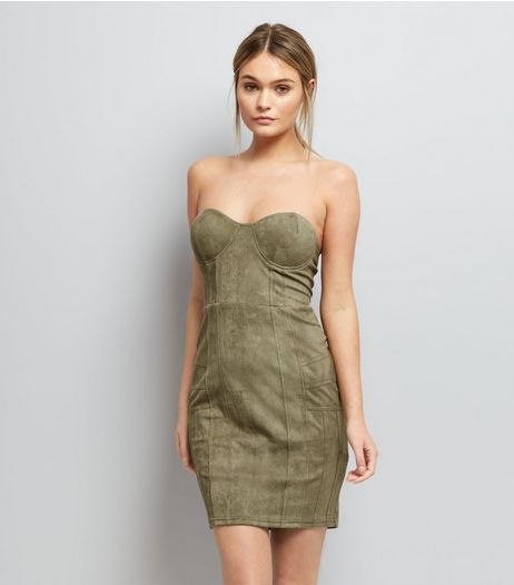 AX Paris Olive Green Bandeau Dress | New Look
