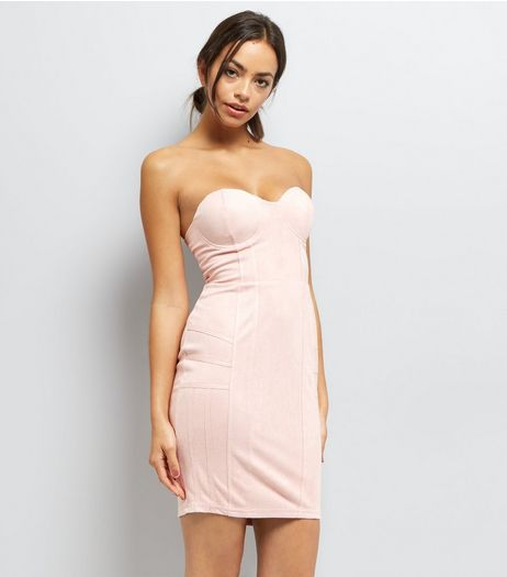AX Paris Mid Pink Bandeau Dress  | New Look