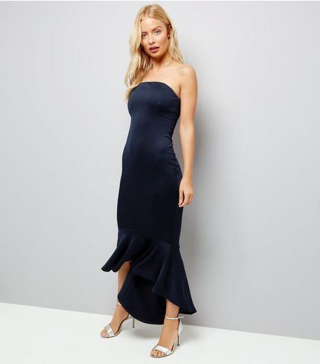 AX Paris Navy Strapless Fish Tail Dress  | New Look