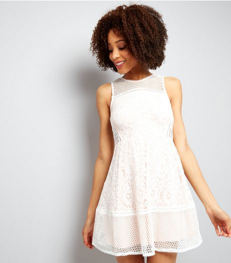 AX Paris Cream Mesh And Lace Skater Dress | New Look
