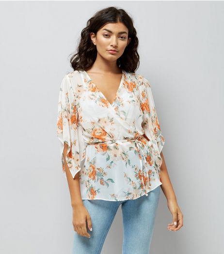 White Floral Print Hanky Sleeve Wrap Front Top | New Look