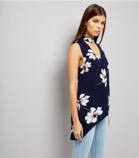 AX Paris Blue Floral Print Choker Neck Top  | New Look
