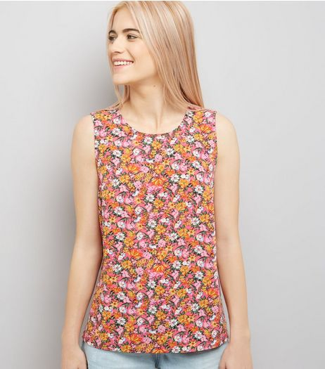 Pink Floral Print Tie Back Sleeveless Top | New Look