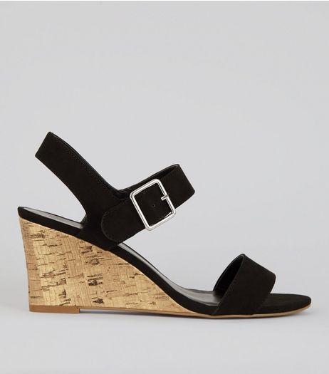 Black Ankle Strap Cork Wedge Heeled Sandals | New Look