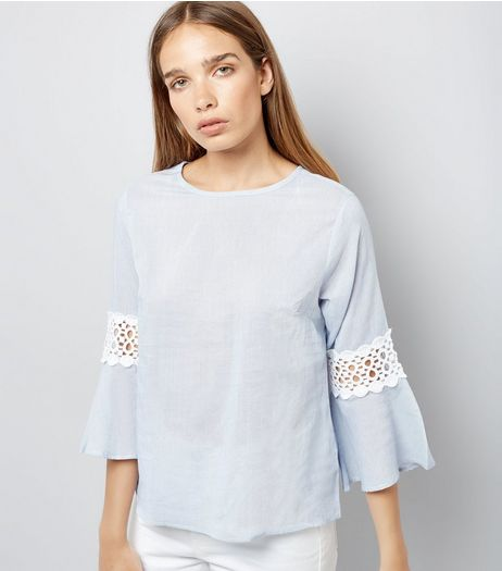 Blue Stripe Crochet Trim Bell Sleeve Top | New Look