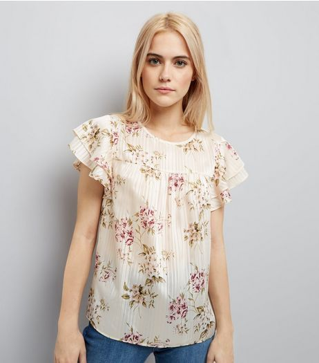 Cream Floral Print Pleated Frill Sleeve Top | New Look