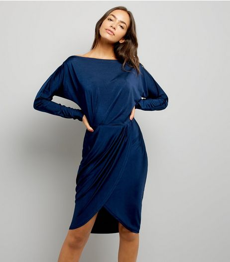 AX Paris Navy Wrap Skirt Dress | New Look