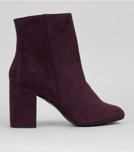 Purple Suedette Block Heeled Boots  | New Look