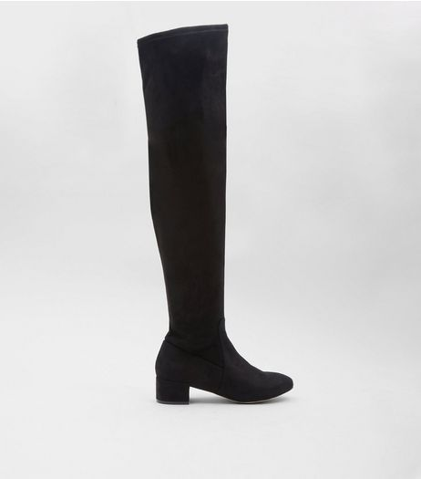 Black Suedette Over The Knee Boots | New Look