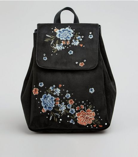Black Suedette Floral Embroidered Mini Backpack | New Look