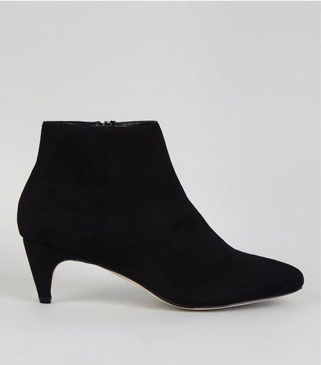 Black Suedette Low Pointed Heeled Boots  | New Look