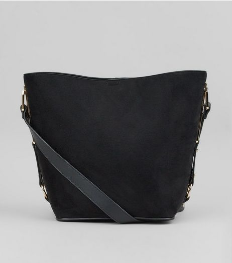 Black Side Detail Bucket Bag | New Look