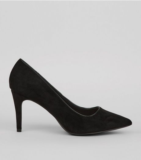 Black Comfort Suedette Pointed Heels | New Look