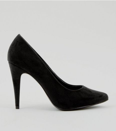 Black Suedette Cone Heel Pointed Court Shoes | New Look