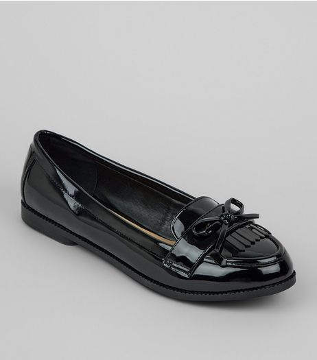 Wide Fit Black Patent Bow Loafers | New Look
