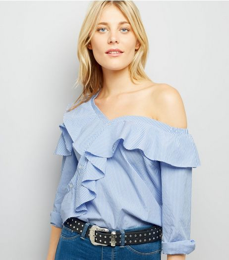 Blue Stripe Print Bardot Neck Shirt  | New Look