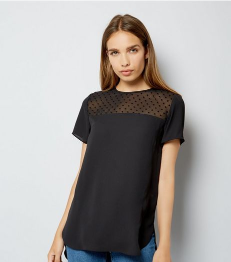 Black Spot Mesh Yoke Dip Hem Top | New Look