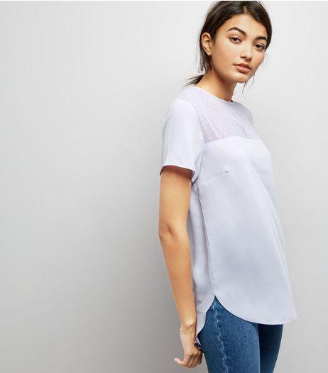 Pale Blue Spot Mesh Yoke Dip Hem Top | New Look