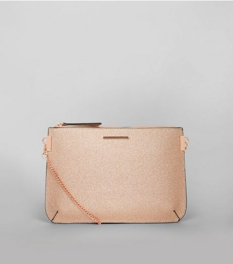 Rose Gold Glitter Curve Flat Clutch  | New Look
