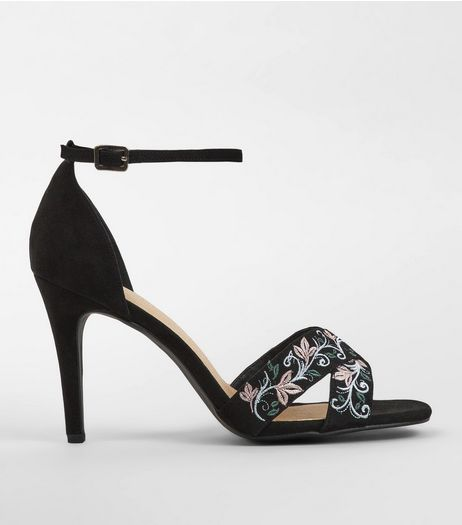 Wide Fit Black Comfort Embroidered Heeled Sandals | New Look