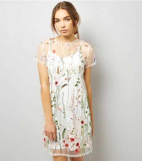 White Floral Embroidered Mesh T-Shirt Dress | New Look