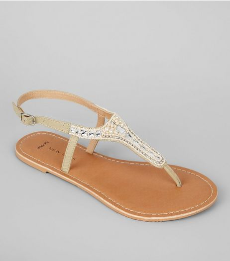 Wide Fit Nude Pink Embellished Toe Post Sandals | New Look