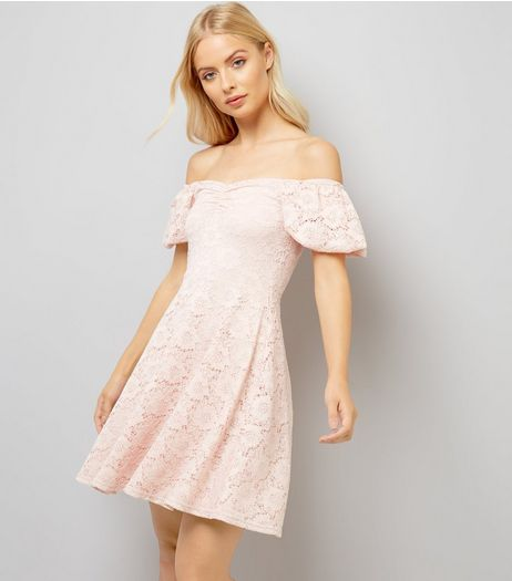 Pink Lace Bardot Neck Skater Dress | New Look