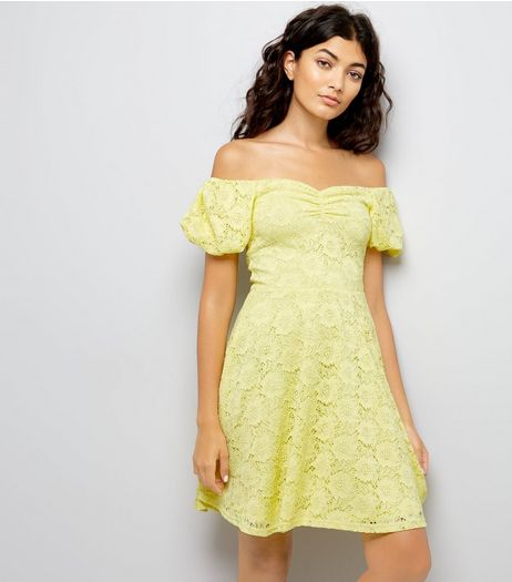Yellow Lace Bardot Skater Dress | New Look