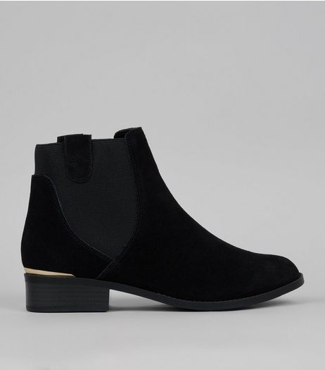 Black Suede Metal Trim Boots  | New Look