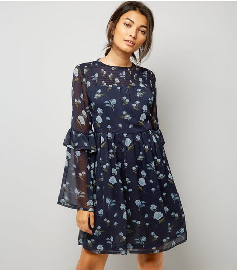 Blue Floral Print Frill Sleeve Smock Dress  | New Look