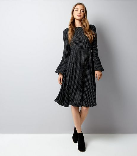 Black Polka Dot Bell Sleeve Midi Dress | New Look