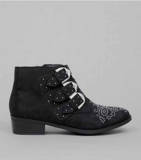 Teens Black Suedette Western Buckle Boots | New Look