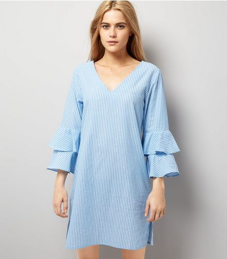 Blue Stripe V Neck Frill Sleeve Tunic Dress | New Look