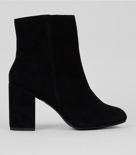 Black Suede Block Heeled Boots  | New Look