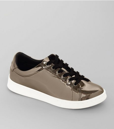 Teens Pewter Metallic Lace Up Trainers | New Look
