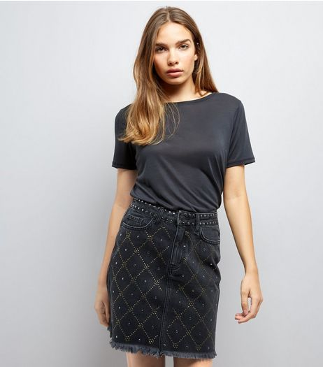Black Diamond Studded Denim Skirt | New Look